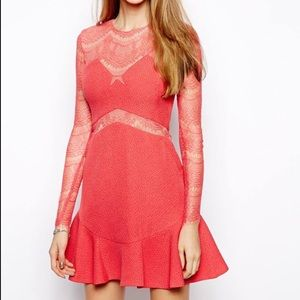 Three floor one oh one pink lace dress